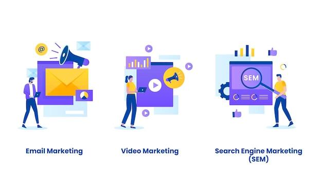 Digital marketing concept illustration set