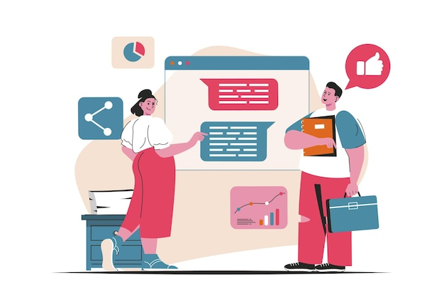 Digital marketing concept isolated. online advertising and promotion, communication. people scene in flat cartoon design. vector illustration for blogging, website, mobile app, promotional materials.