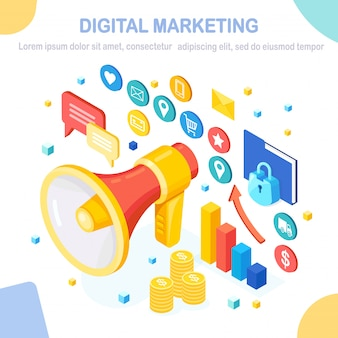 Digital marketing concept.  isometric megaphone, loudspeaker, bullhorn with money, graph, folder, speech bubble. business development strategy advertising. social media analysis.