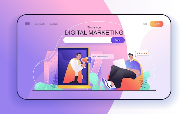 Digital marketing concept for landing page loudspeaker marketer engages social media user
