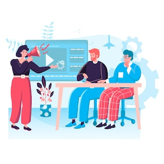 Digital marketing concept. marketers developing online promotion strategy, making advertising campaign with video content character scene. vector illustration in flat design with people activities