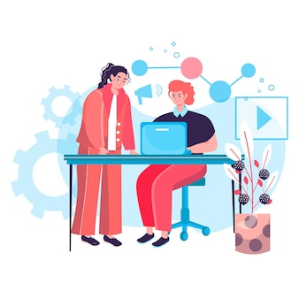Digital marketing concept. marketers team working together in office, create advertising content, promote in social network character scene. vector illustration in flat design with people activities