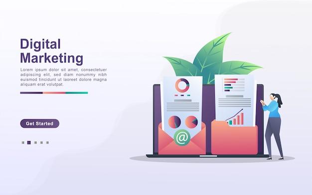 デジタルマーケティングの概念。人々はマーケティングコンテンツを保存して顧客のメールに共有します。マーケティング結果を分析および特定します。 webランディングページ、バナー、モバイルアプリに使用できます。
