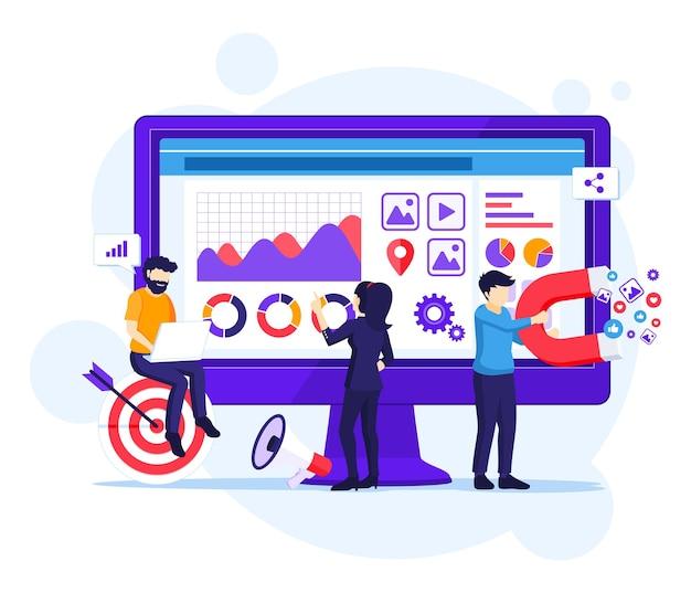 디지털 마케팅 개념, 사람들은 큰 화면 앞에서 일합니다.