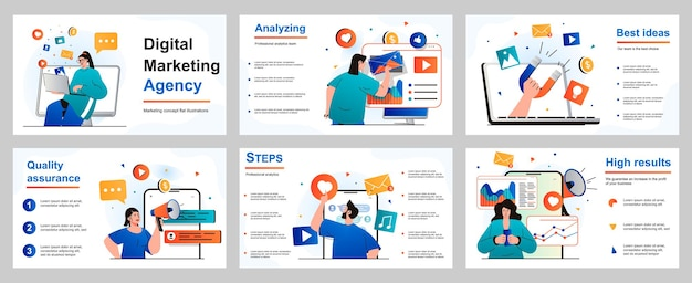 Digital marketing concept for presentation slide template people make advertising campaigns