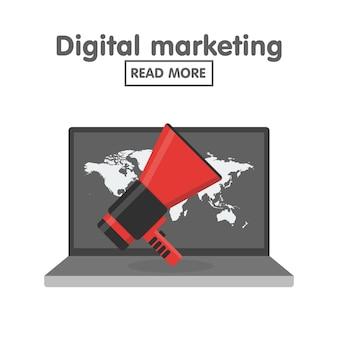 デジタルマーケティングの概念のベクトル図です。地図の背景を持つメガホンとラップトップ。フラットスタイルのアイコン。