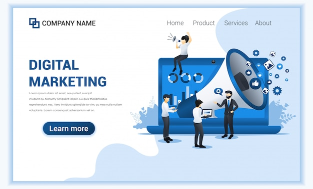 Digital marketing concept with characters.