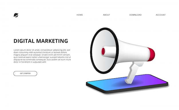 Концепция цифрового маркетинга с иллюстрацией мегафона с перспективой 3d смартфон