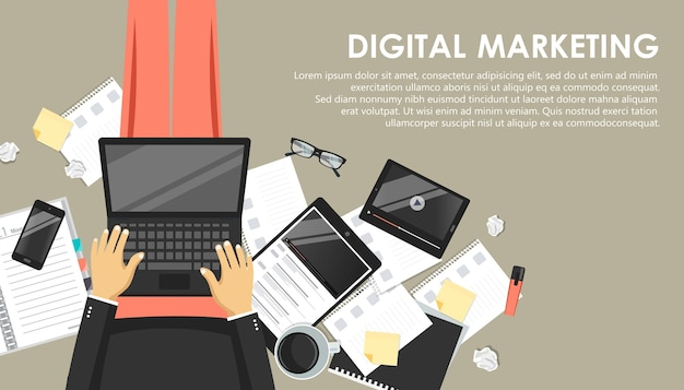 Digital marketing concept with laptop and phone