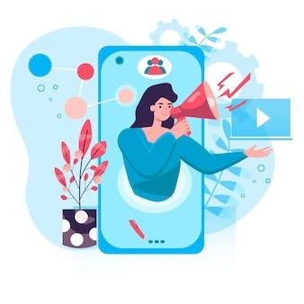 デジタルマーケティングの概念。メガホンを持った女性が集客、モバイルアプリでの広告、ソーシャルネットワークのキャラクターシーンでのプロモーション。人々の活動とフラットなデザインのベクトル図