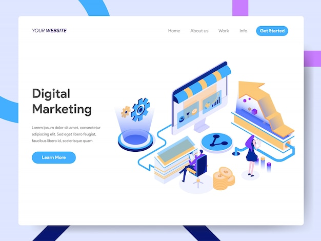 Digital marketing consultant isometric illustration for website page