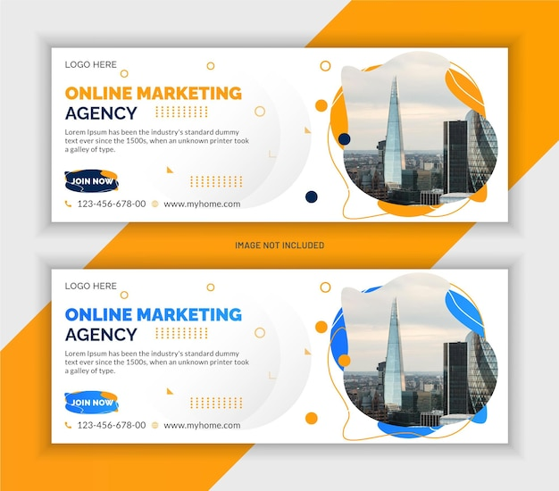 Digital marketing corporate facebook cover and web banner template