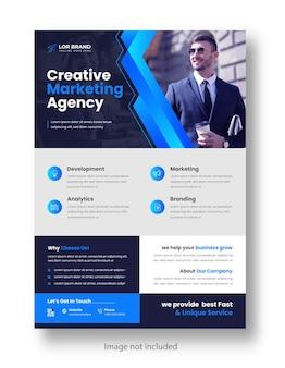 블루 색상으로 디지털 마케팅 기업 현대 비즈니스 전단지 디자인 템플릿