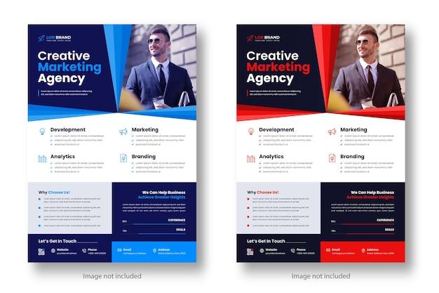 赤と青の色でデジタルマーケティング企業のモダンなビジネスチラシデザインテンプレート