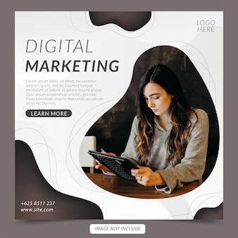 デジタルマーケティング企業のソーシャルメディアバナーとinstagramの投稿テンプレート