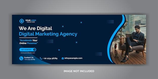 デジタルマーケティング企業ソーシャルメディアfacebookカバーテンプレート Premiumベクター