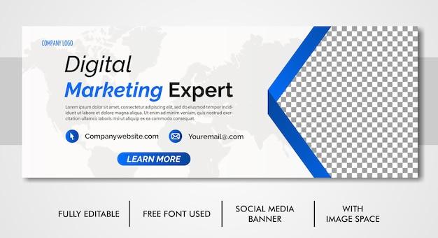 デジタルマーケティング企業ソーシャルメディアfacebookカバーwebバナーテンプレート