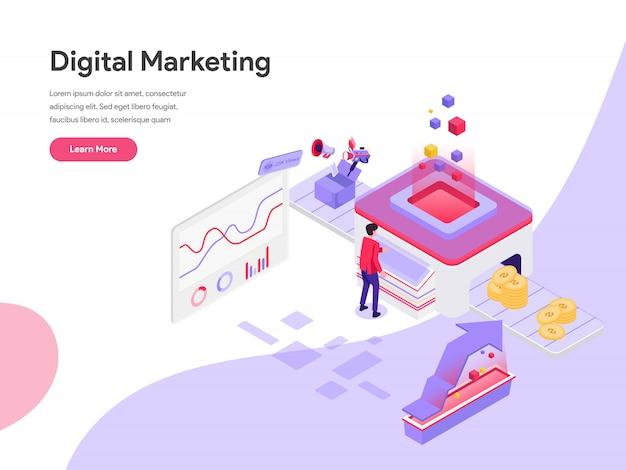 Digital marketing cost isometric illustration concept