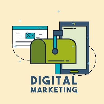 Digital marketing email mailbox phone vector illustration