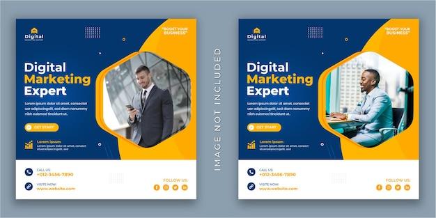 Эксперт по цифровому маркетингу и флаер для корпоративного бизнеса. пост в социальных сетях или шаблон веб-баннера