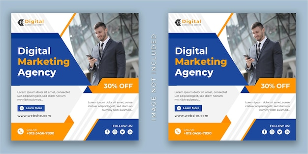 Digital marketing expert and corporate business flyer square social media instagram post or web banner template