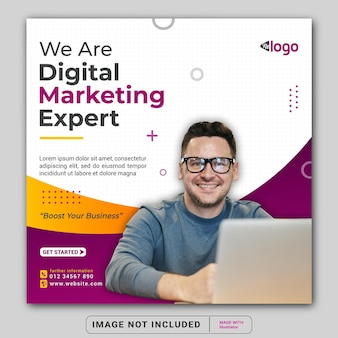Рекламный баннер эксперта по цифровому маркетингу для шаблона поста в социальных сетях instagram или квадратного флаера