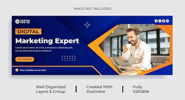Digital marketing facebook cover page template vecto premium