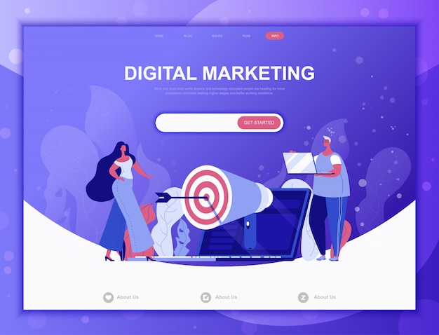 Digital marketing flat concept, landing page web template