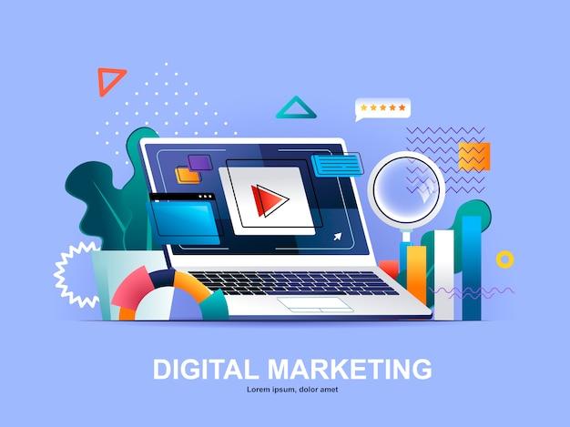 グラデーションイラストテンプレートとデジタルマーケティングフラットコンセプト