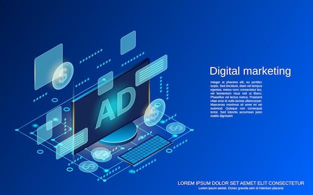 デジタルマーケティングフラットアイソメトリックベクトルの概念図