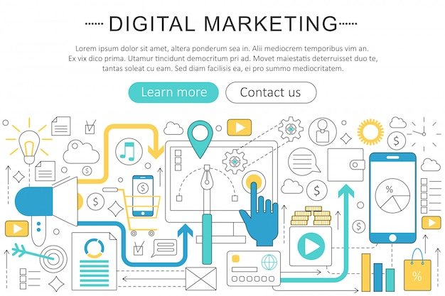 Digital marketing flat line concept