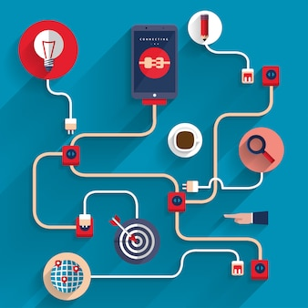 デジタルマーケティングのアイコンはビジネスのためのモバイルデバイスを接続します