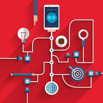 디지털 마케팅 아이콘은 비즈니스를 위해 모바일 장치를 연결합니다.