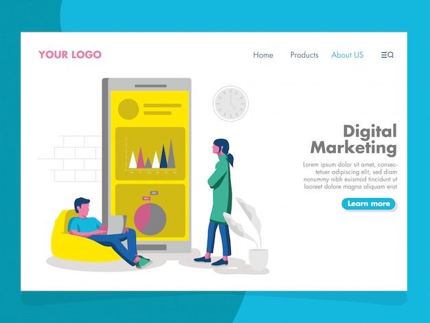Цифровой маркетинг иллюстрация для целевой страницы