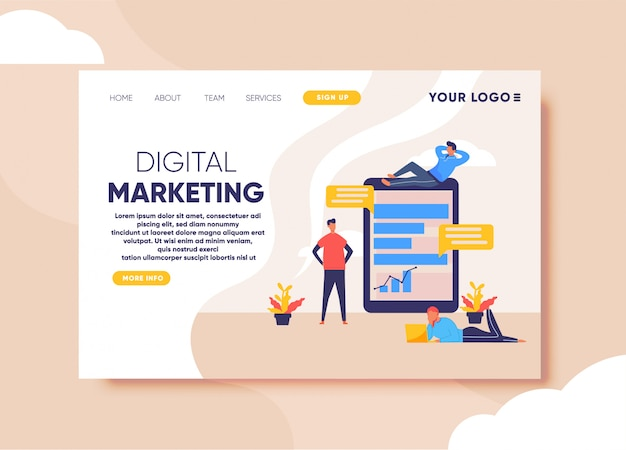 Digital marketing illustration for landing page template
