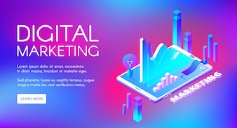 Digital marketing illustration of business market research and development.