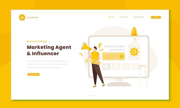 Иллюстрация влиятельного лица цифрового маркетинга на концепции целевой страницы