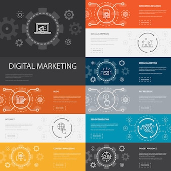 Digital marketing infographic 10 line icons banners.internet, marketing research, social campaign, pay per click simple icons