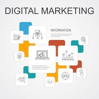 Digital marketing infographic 10 line icons template.internet, marketing research, social campaign, pay per click simple icons