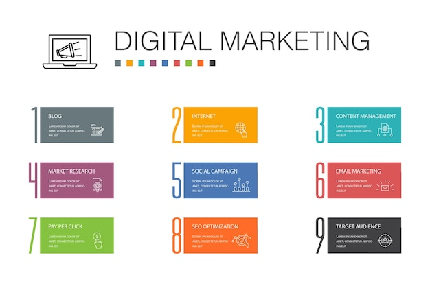 Digital marketing infographic 10 option line concept.internet, marketing research, social campaign, pay per click simple icons