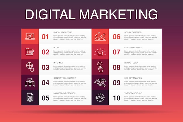 Digital marketing infographic 10 option template. internet, marketing research, social campaign, pay per click  simple icons