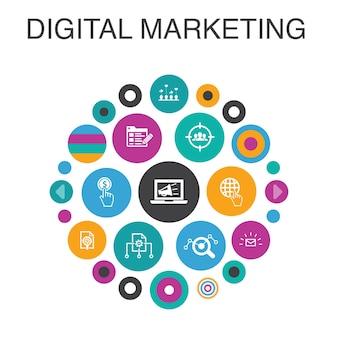Digital marketing infographic circle concept. smart ui elements internet, marketing research, social campaign, pay per click