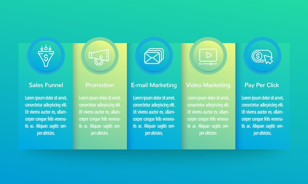 Digital marketing infographics, banner design with line icons