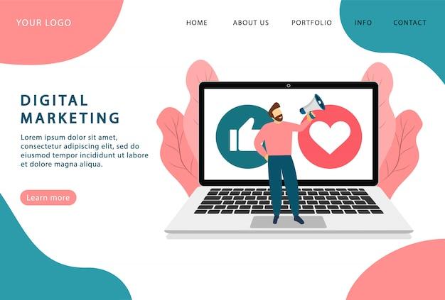 디지털 마케팅. 인터넷 광고. 방문 페이지. 웹 사이트를위한 최신 웹 페이지.