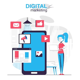 Digital marketing isolated cartoon concept marketer makes online promotion in social network