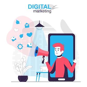 Цифровой маркетинг изолировал мультяшную концепцию онлайн-рекламной кампании в мобильном приложении