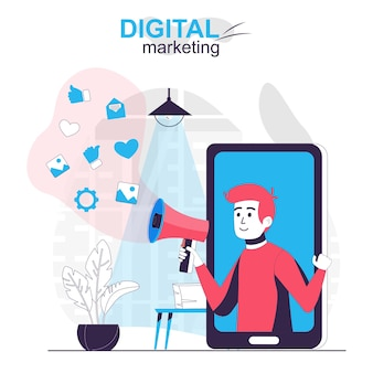 Digital marketing isolated cartoon concept online advertising campaign at mobile app
