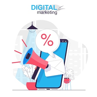 Digital marketing isolated cartoon concept online promotion and attracting buyers with sale