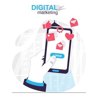 Цифровой маркетинг изолированный мультяшный концепт-пользователь видит рекламу и коммерческое предложение в мобильном приложении