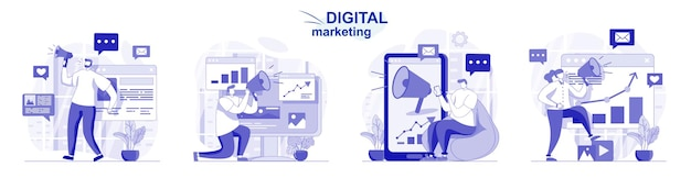 Digital marketing isolated set in flat design people attraction new clients and online promotion